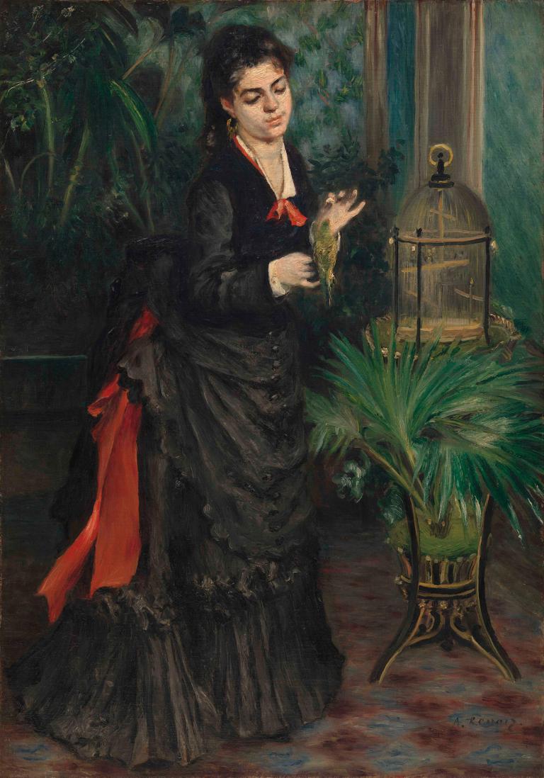 mujer con periquito