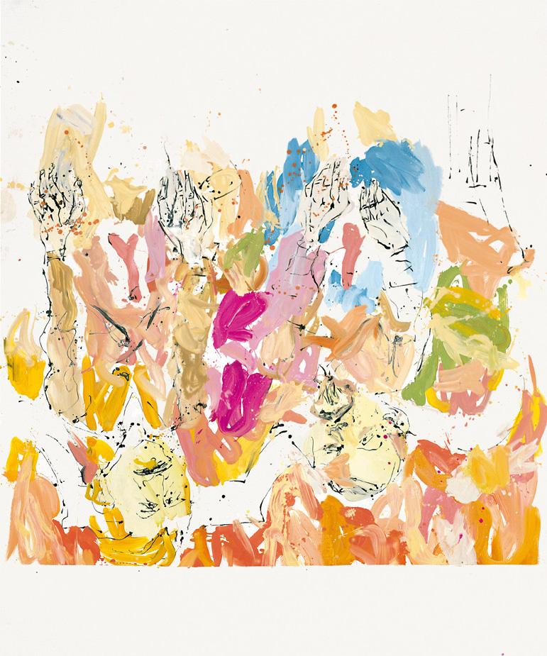 Anselm-ek Maria ikusi zuen, soineko beige eta urdin bat jantzita Birjina, honetan aurreko mantal urdina baino ez darama | Georg Baselitz | Guggenheim Bilbao Museoa