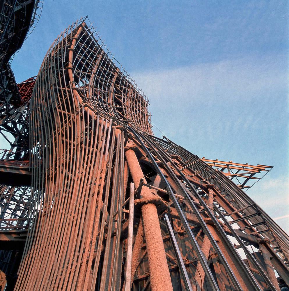 Construcción de uno de los bloques del edificio | Guggenheim Bilbao Museoa