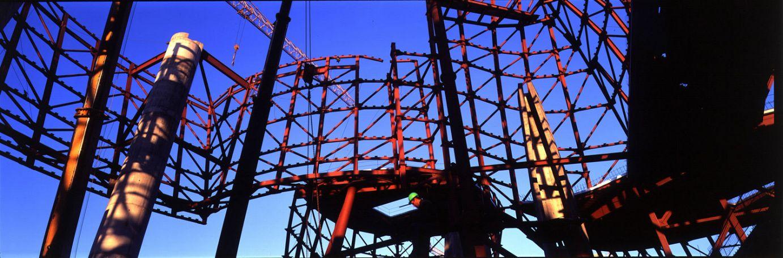 Detalle de la estructura durante la construcción dell edificio | Guggenheim Bilbao Museoa