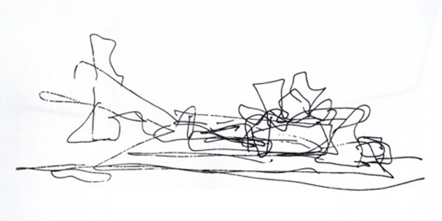 Sketch of the building by Frank Gehry | Guggenheim Bilbao Museoa