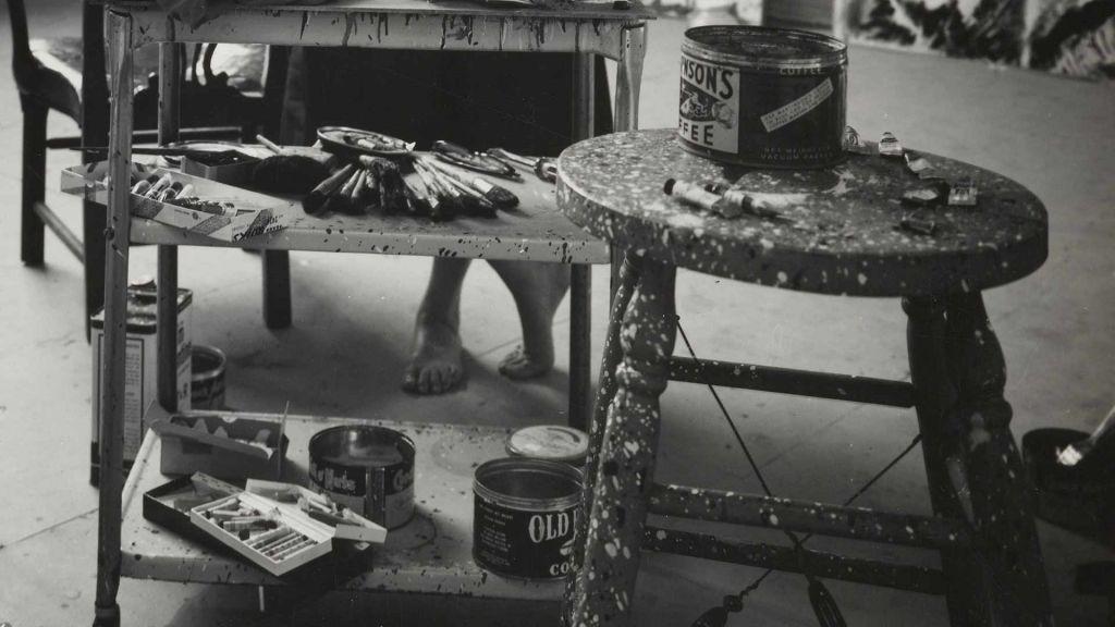 Krasner in her studio in Springs 1962