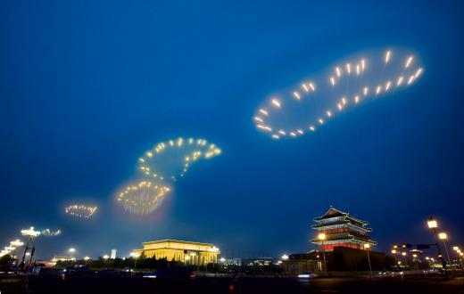 Fuegos artificiales para la ceremonia de inauguración de los Juegos Olímpicos de Pekín