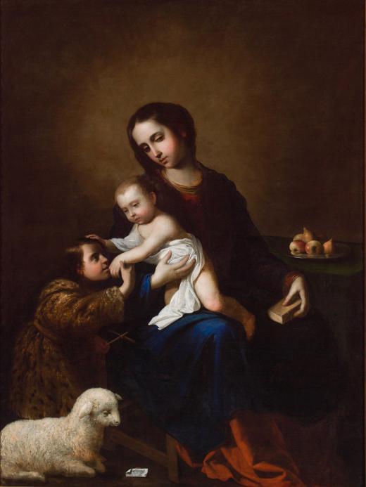 La Virgen con el Niño Jesús y San Juan Bautista niño