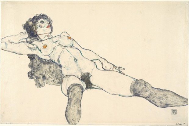 Reclining Female Nude with Legs Spread Apart